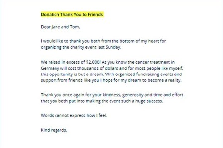 thank you letter template for money donation best of in kind