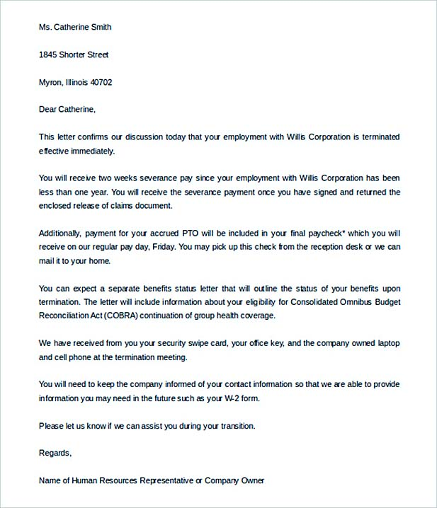 Sample Cobra Letter To Employee The Best Letter 2018