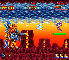 Shooting the third boss with the laser beam.