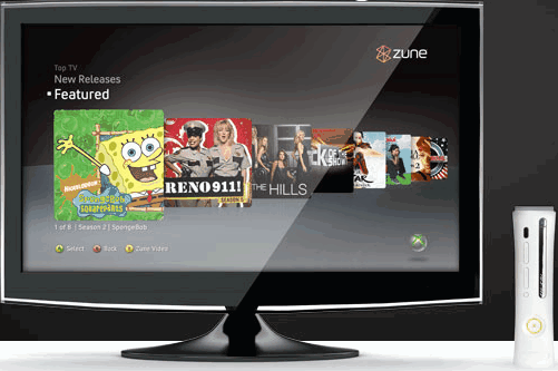 Zune application on the Xbox 360