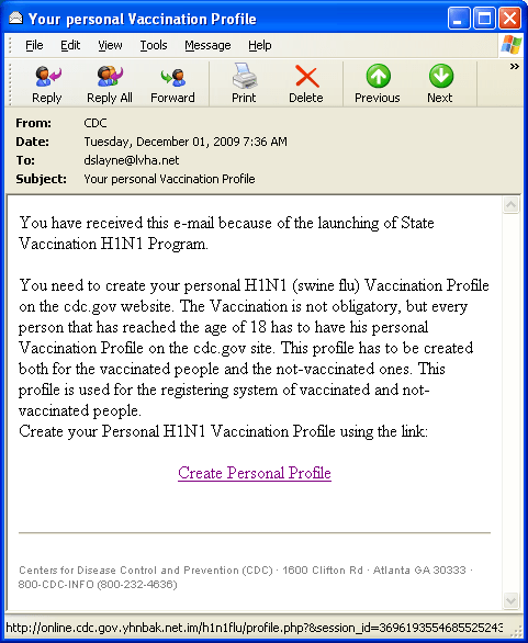 The Fake E-mail with a Create Personal Profile link to the spoofed site