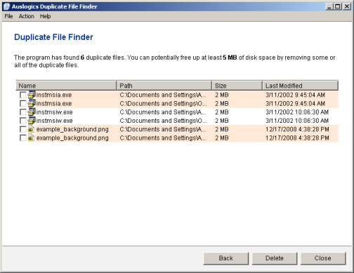 Use caution when selecting duplicate files to delete