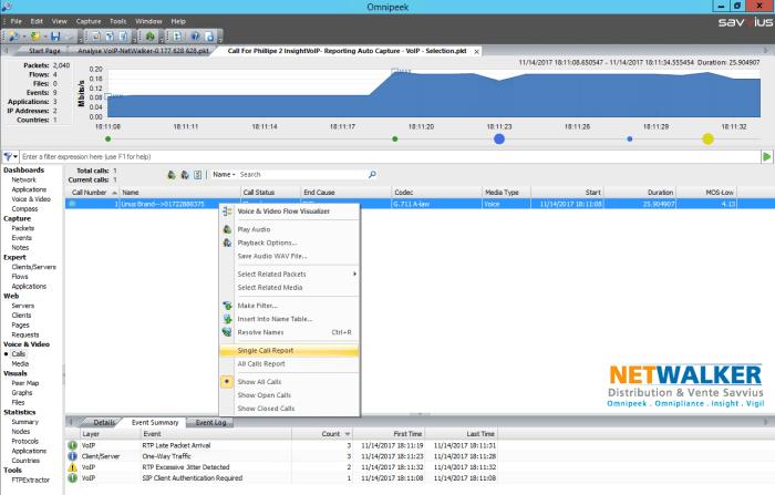 analyse de la qualité VoIP avec Omnipeek le menu Single Call Report