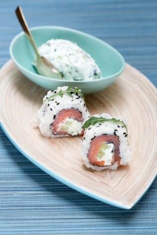 Californian roll smoked salmon, mascarpone, rucola and sesame http://wp.me/p3iY4S-qd