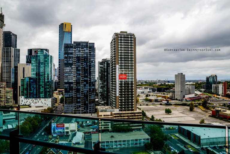 Melbourne-Southbank-Sunday 23rd March 2014. View from my balcony - it was a gloomy day but brightened up by friends' company over lunch :)
