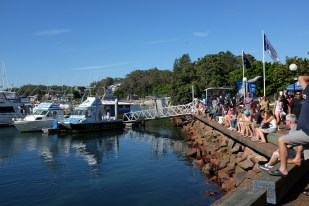 d'Albora Marinas in the centre of Nelson Bay, Port Stephens, NSW, Australia