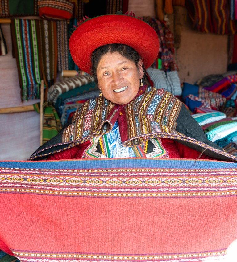 Weaving Demonstration Chinchero Sacred Valley Peru