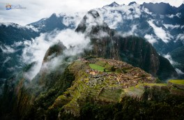 Machu Picchu Peru on Cloudy and Rainy Day