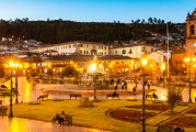 Plaza De Armas Cusco Peru Night From Capuccino Cafe