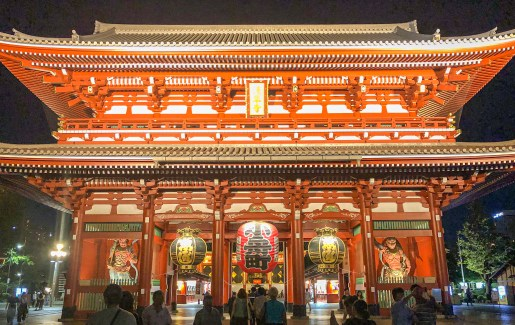 Senso-ji Temple at night – On the way to our farewell dinner