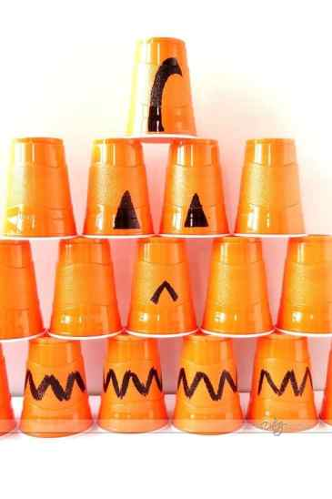 halloween cup stacking game for kids
