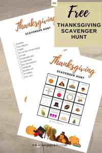 FREE Thanksgiving Scavenger Hunt Printable