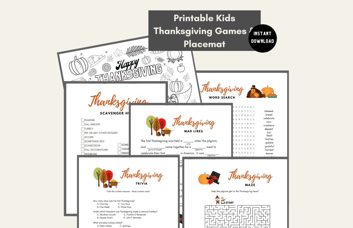 Kids Thanksgiving Games and Placemat