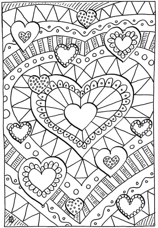 free adult valentine coloring page