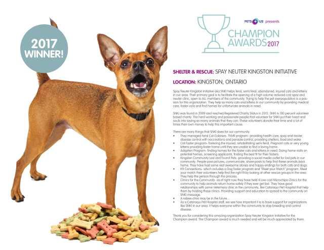 Image of the 2017 Pet Plus Us Champion Award