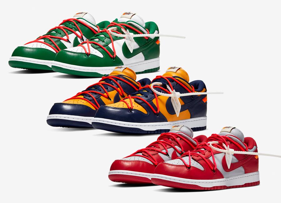 ผลงานการร่วมมือล่าสุดระหว่าง Virgil Abloh ดีไซเนอร์ชื่อดังผู้ก่อตั้งแบรนด์ Off-White และ Nike เตรียมปล่อย Off-White x Nike Dunk Low และคราวนี้มาด้วยกันถึง 3 สี