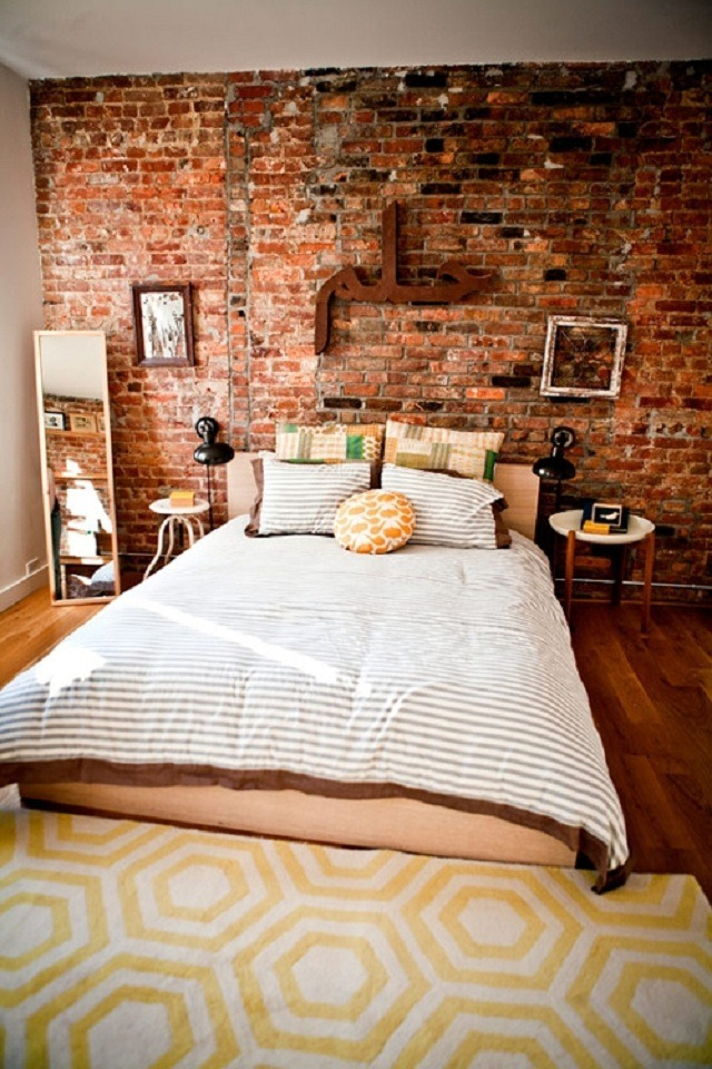 Cute Brick wall bedroom