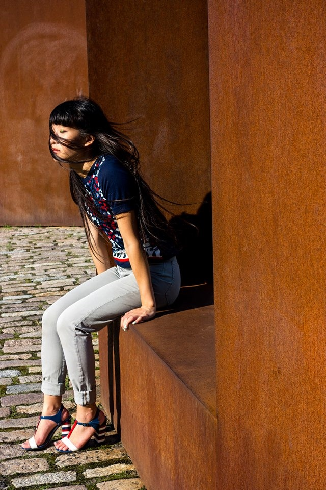Jacob Mosaic Top, patterned top, fashion editorial, american apparel four-way stretch high-waisted pants, Libertine for Aldo Rise colour block sandals