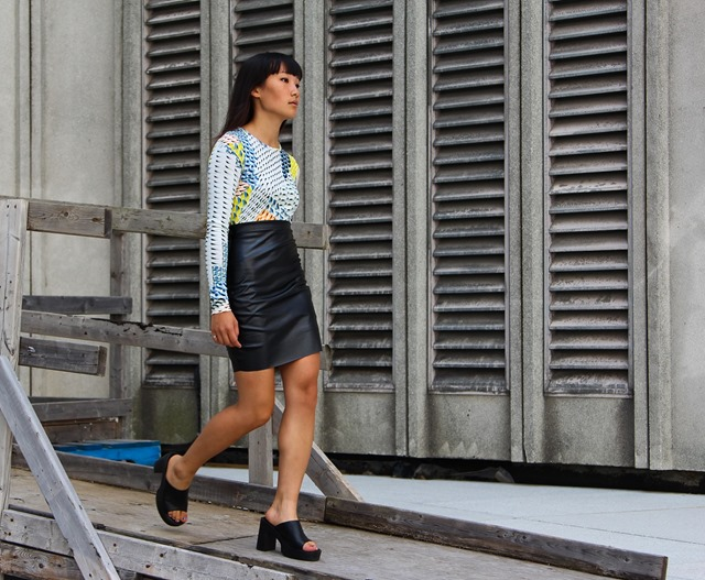 topshop graphic dress and DIY leather pencil skirt 2