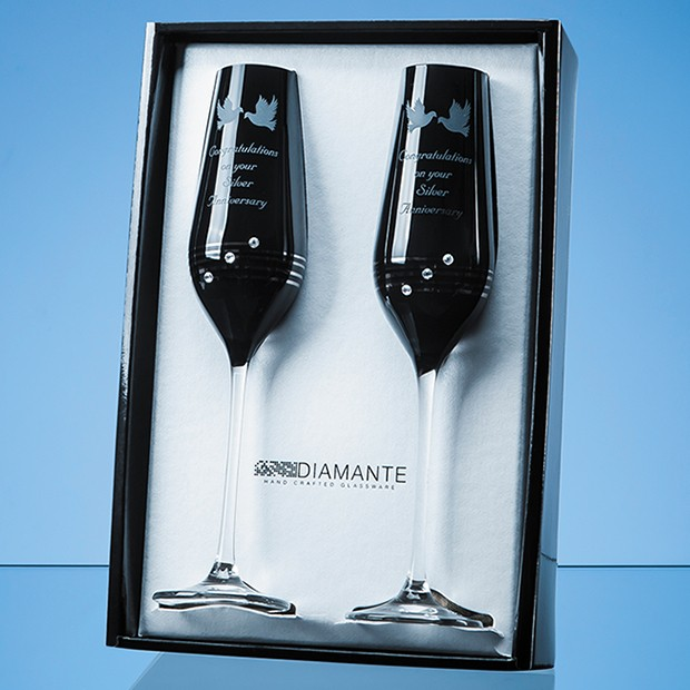 Personalised black champagne flutes