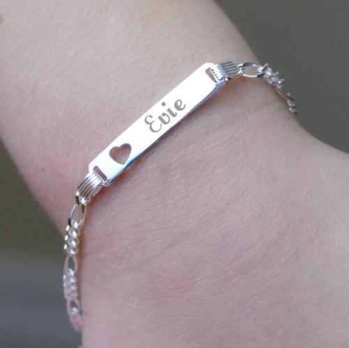 Childs silver identity bracelet