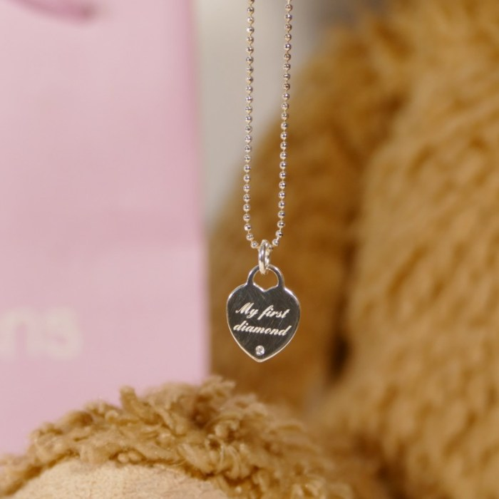 My first diamond silver necklace