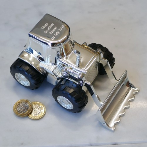 Personalised silverplated digger money box