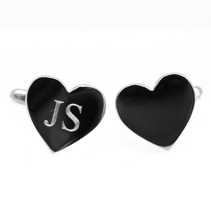 Engraved heart cufflinks