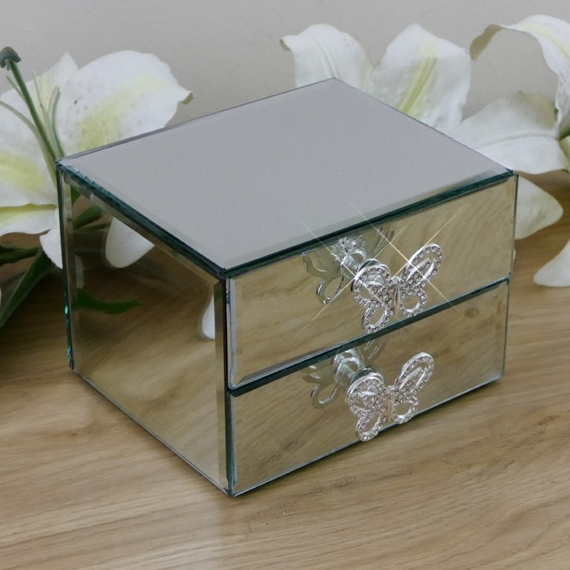 Personalised Glass Jewellery Box With Butterfly Draw Handles Snobsgifts