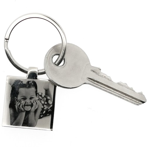 Square photo engraved keyring
