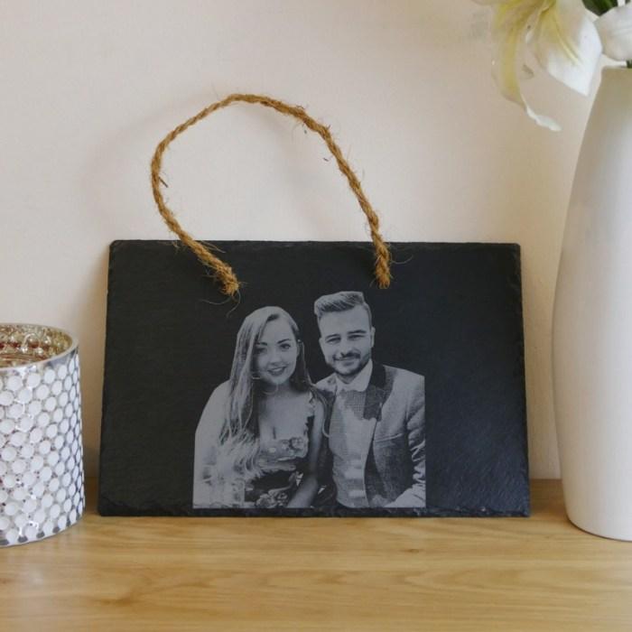 Hanging photo engraved slate