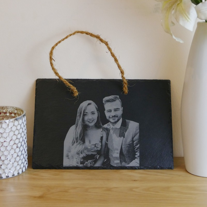 Hanging photo engraved slate