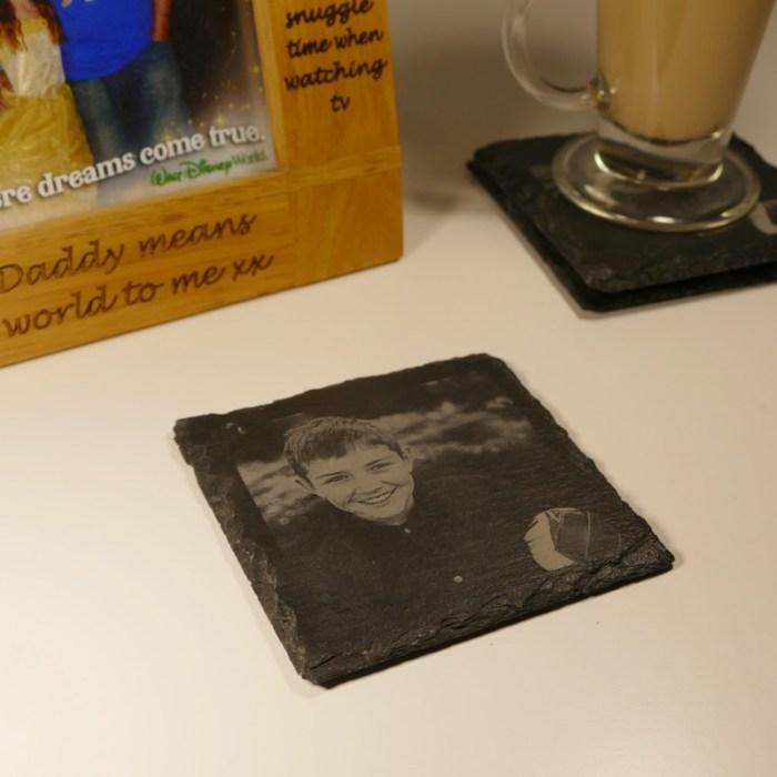 Square photo engraved slate coasters
