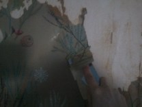 Olive's Room, mid-wallpaper removal. Yeah scrapping wallpaper