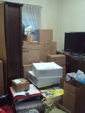 Tower of Boxes in Dining Room. Most are in the basement.