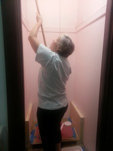 Mom painting the pink