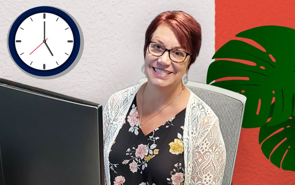 Sno Falls employee at their desk with illustrated office background