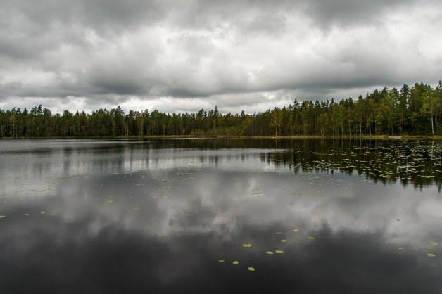 dramatisches Wetter über dem See, Hiking-Trail Sammalistonpolku in Finnland