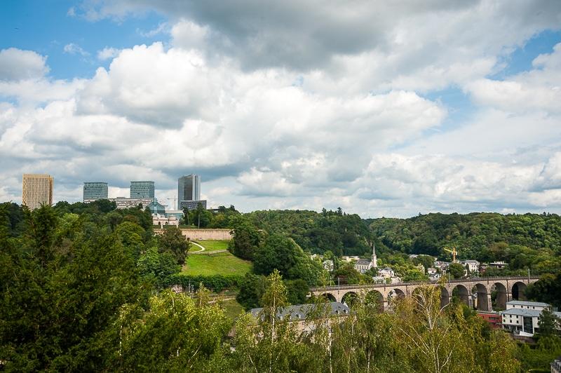Blick auf den Kirchberg mit Fort Thüngen, Luxembourg