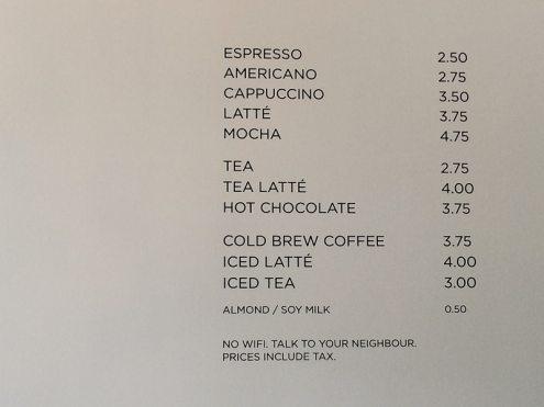 lustige Preisliste Parlour Coffee