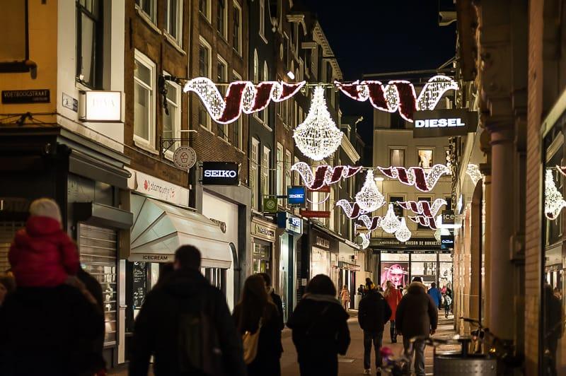 Weihnachtsbeleuchtung in Amsterdam