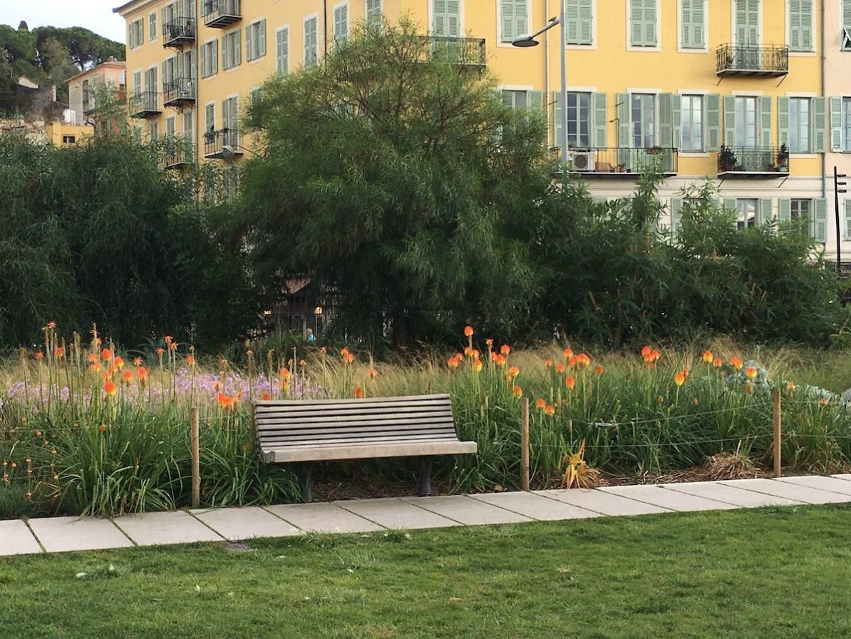 Promenade du Paillon, einsame Parkbank mit Blumen dahinter.