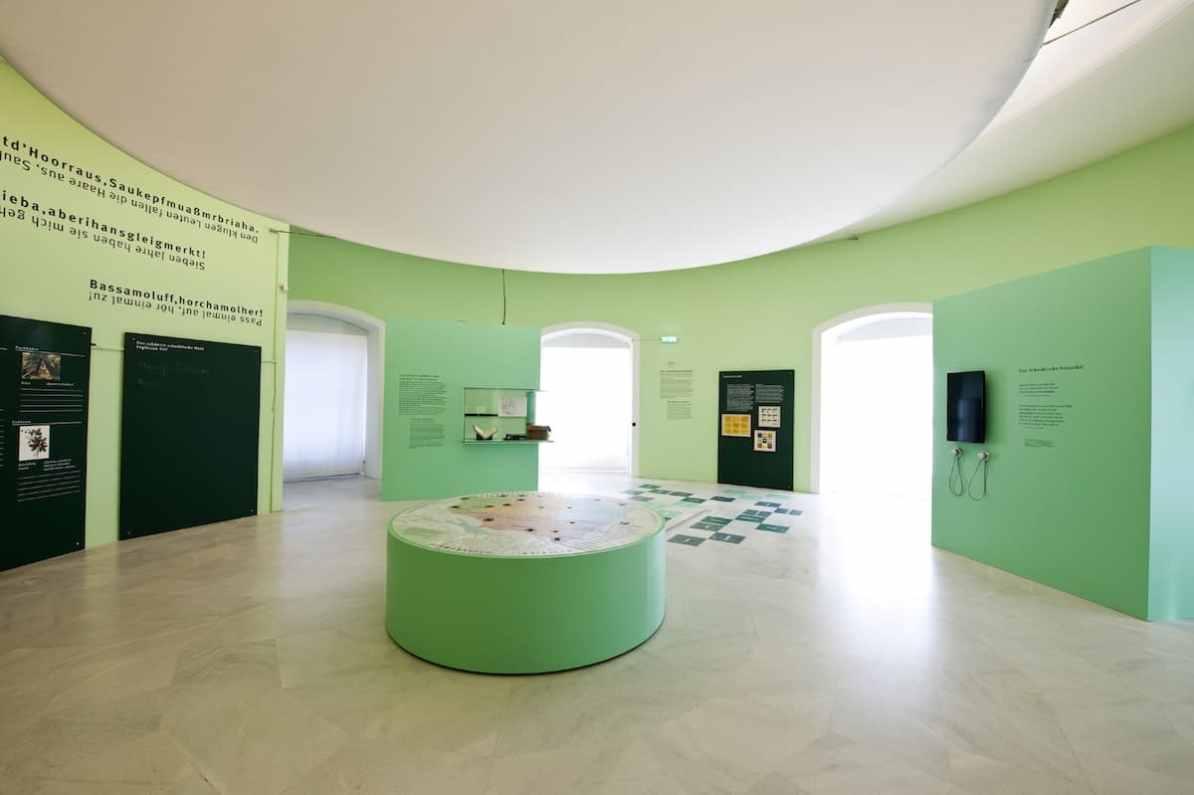 """Raumaufnahme Große Landesausstellung """"Die Schwaben. Zwischen Mythos und Marke"""" © Landesmuseum Württemberg, Stuttgart; Foto: Franziska Schneider"""