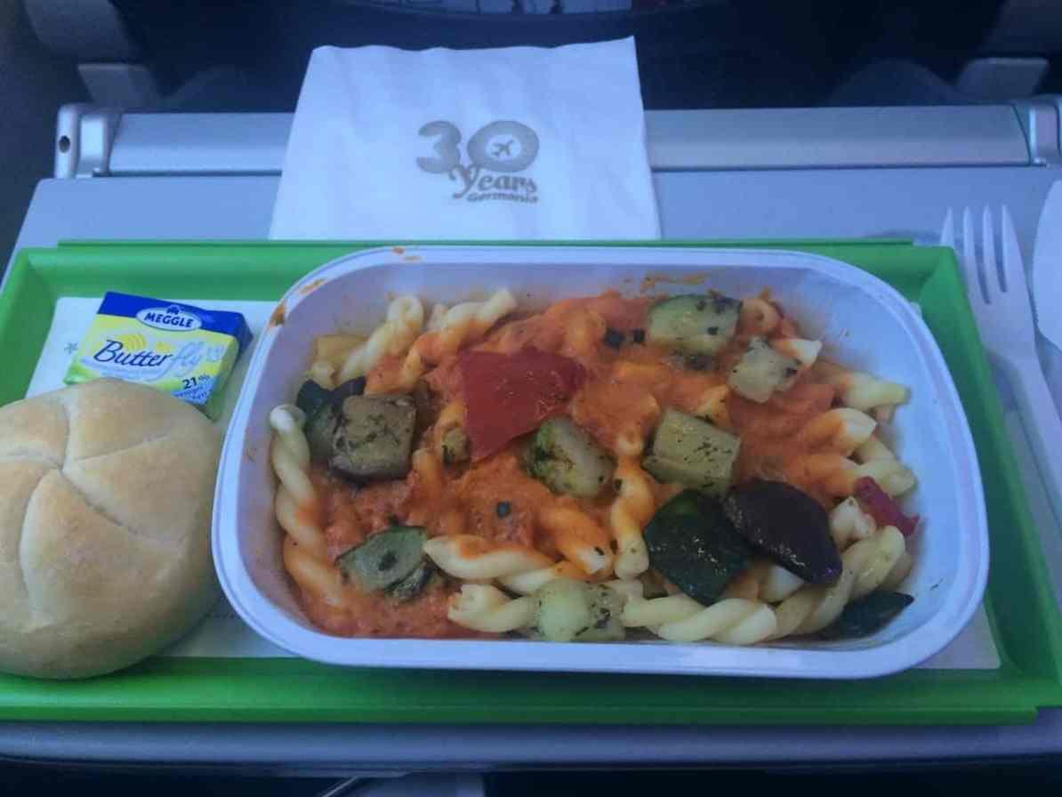 Essen auf dem Germania-Flug