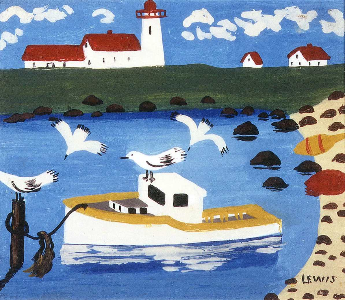 """""""Cape Islander Cove"""" by Maud Lewis. Courtesy of the Art Gallery of Nova Scotia, all rights reserved."""