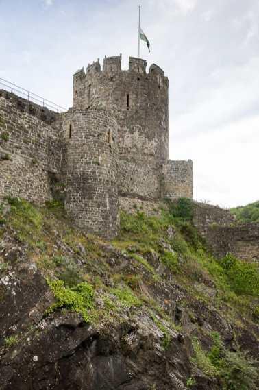 Conwy Castle in North Wales - gut geschützte Anlage auf erhöhtem Gebiet