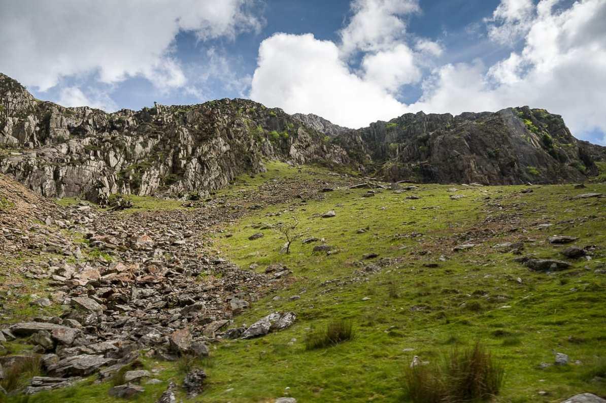 schroffes Gelände in Snowdonia