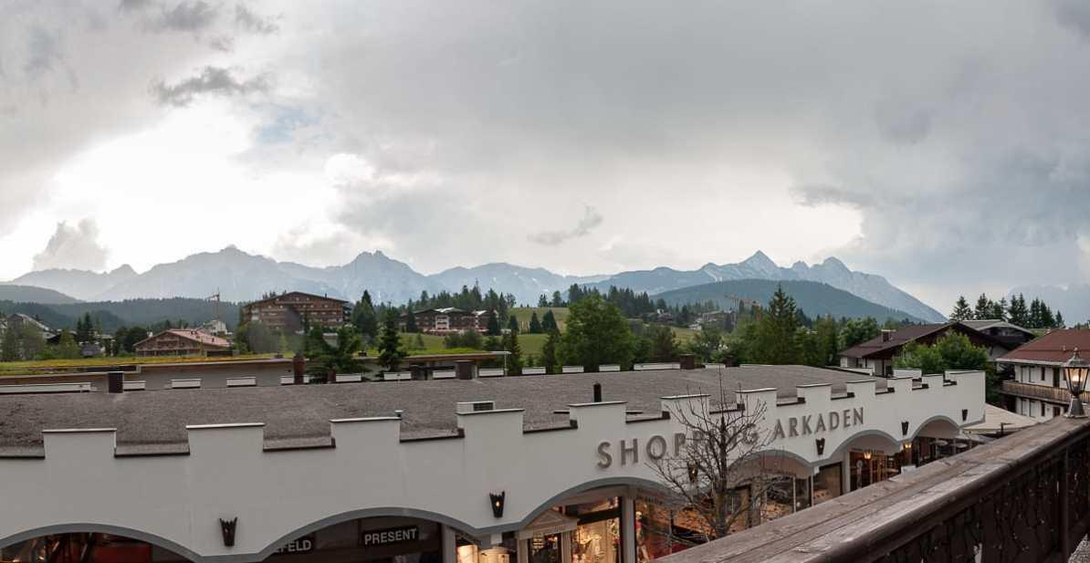 Ausblick von meinem Balkon auf das Wettersteingebirge