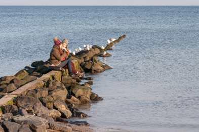 Möven beobachten, am Strand sitzen