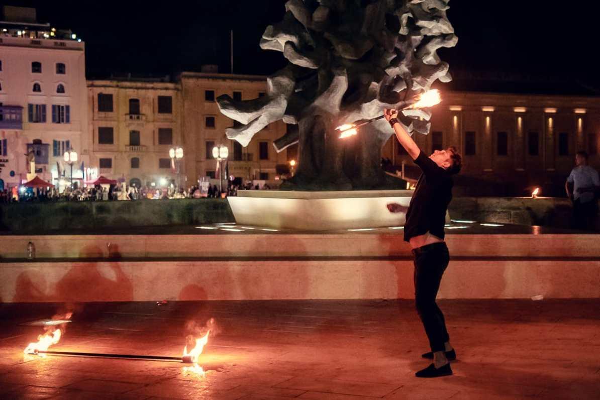 Flammenwerfer beim Notte Bianca